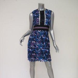 Saloni Dress Purple Chevron Lace Trudi Sleeveless